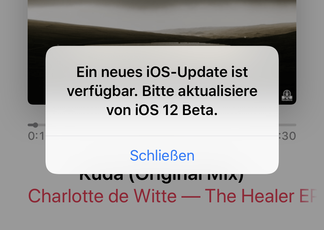 iOS 12 Beta Update Popup